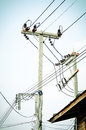 Electrical powered pillar In Bangkok, Thailand Royalty Free Stock Photo