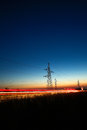 Electrical powerlines at dusk Royalty Free Stock Photo