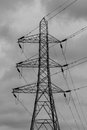 Electrical pylon detailed close upright photograph of a single isolated Stock Image
