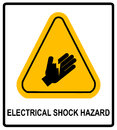 Electrical Shock Hazard symbol, vector illustration with warning sign in yellow triangle isolated on white. Royalty Free Stock Photo