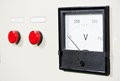 Electrical switch panel with button and voltmeter Royalty Free Stock Photo