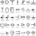Electrical Symbol Icon Set Stock Image