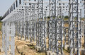 Electrical system high voltage power station high voltage Stock Photo