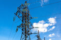 Electrical tower at blue sky at daytime Royalty Free Stock Photo