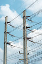 Electrical tower on blue sky Royalty Free Stock Photo