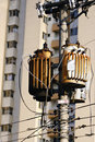 Electrical transformer on pole Stock Photography