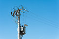 Electrical transformer to electrical pylon Royalty Free Stock Photo