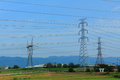 Electrical transmission line group of lines Stock Image