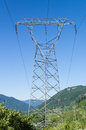 Electrical transmission tower to support power lines an electrcial supports high tension Royalty Free Stock Photography
