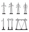 Electrical transmission tower types vector illustration Stock Images