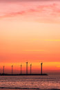 Electrical windmills silhouettes in the sunset Royalty Free Stock Photography