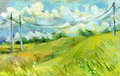 Electrical wires in the summer field oil on canvas illustration
