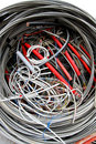 Electrical wires to the socket and insulated copper wire tangle of Stock Image