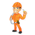 Electrician carrying cables and pliers