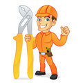 Electrician carrying pliers and giving thumb up