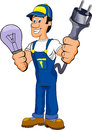 Electrician cartoon illustration of an isolated Stock Images