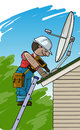 Electrician installs the satellite antenna on a roof Royalty Free Stock Photo