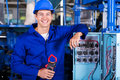 Electrician insulation tester portrait of industrial with in factory Royalty Free Stock Photos