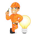 Electrician leaning on light bulb