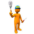 Electrician led with bulb on the white background Stock Photos