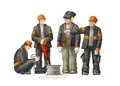 Electrician, project manager, jack hammer worker. Builders working on construction works illustration Royalty Free Stock Photo