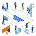 Electrician Service Isometric Flowchart Royalty Free Stock Photo
