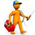 Electrician With Toolbox And Cord Royalty Free Stock Images
