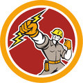 Electrician wielding lightning bolt circle retro illustration of an construction worker power lineman holding a set inside done in Stock Photography