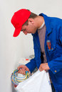 Electrician with wirings Royalty Free Stock Photo
