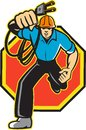 Electrician Worker Running Electrical Plug Stock Photos
