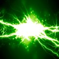 Electricity bright electrical spark on a dark green background Royalty Free Stock Photos