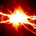 Electricity bright electrical spark on a dark red background Royalty Free Stock Image