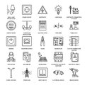 Electricity engineering vector flat line icons. Electrical equipment, power socket, torn wire, energy meter, lamp