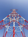 Electricity high voltage pylon perspective view Royalty Free Stock Photo