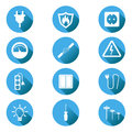 Electricity icon. Vector illustration in flat style on blue circ