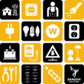 Electricity icons a set of and electric power related Royalty Free Stock Images