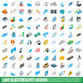 100 electricity icons set, isometric 3d style