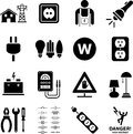 Electricity icons a variety of and electronics themed Stock Image