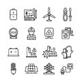 Electricity industry, electrical engineering vector line icons