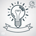 Electricity light bulb symbol, insight emblem. Vector brain storm conceptual icon - corporate problem solution theme. Royalty Free Stock Photo