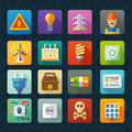 Electricity and light. Vector flat icon set