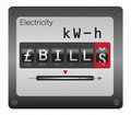Electricity meter gbp high bills shown on spinning Royalty Free Stock Photos