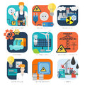 Electricity nuclear hydro eco energy industrial vector icon set Royalty Free Stock Photo