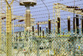 Electricity plant power station enclosed with barbwire fence Stock Images