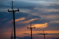 Electricity poles on colorful sky , sunset Royalty Free Stock Photo