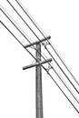 Electricity post andtelephone poll and telephone on a white background isolated Stock Photo