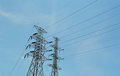 Electricity post in daylight and blue sky Stock Photo