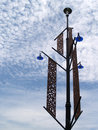Electricity post with perforated design Stock Photos
