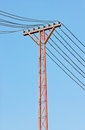 Electricity post in sky Stock Photos