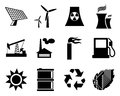 Electricity, power and energy icon set. Royalty Free Stock Photography